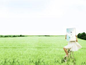 Kecantikan Di Rumput Lukisan Gambar Latar Belakang Segar Kecil