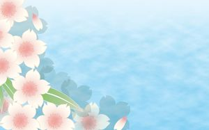 Blue water floating petals ppt background picture