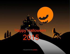 Castle bat wolf roar Happy Halloween Halloween ppt template