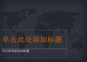 Dark gray world map background ppt template