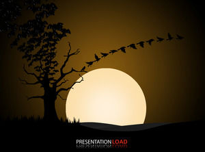 Dead tree branches crows take creative animation Halloween ppt template