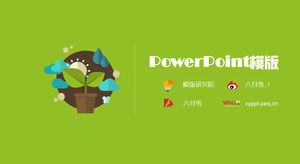 Green plant environmental climate vector cartoon flat green ppt template