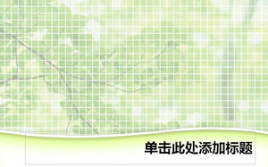 Grid green plant background ppt template
