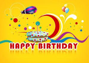 Happy festive vitality color birthday celebration birthday cartoon ppt template