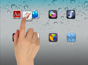 ipad finishing desktop touch moving icon effect ppt animation effects template