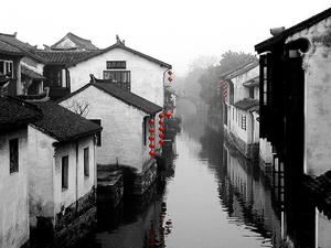 Jiangnan Water Village ink in the picture