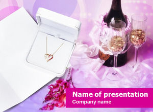 Necklace wine glass red wine romantic love theme ppt template