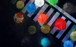 Hujan Hari Kerumunan Dalam Warna Payung Gambar Latar Belakang