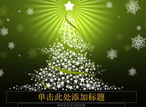 Snowflakes five-pointed star light christmas tree beautiful green christmas ppt template